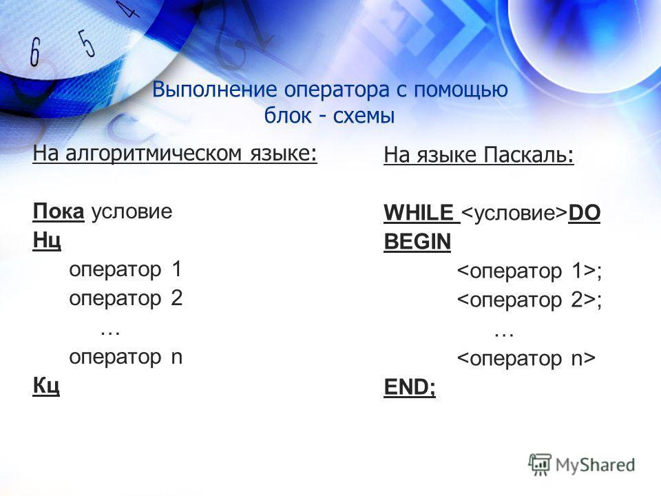 Выполнение оператора с помощью блок - схемы На алгоритмическом языке: Пока условие Нц оператор 1 оператор 2 … оператор n Кц На языке Паскаль: WHILE DO BEGIN ; … END;
