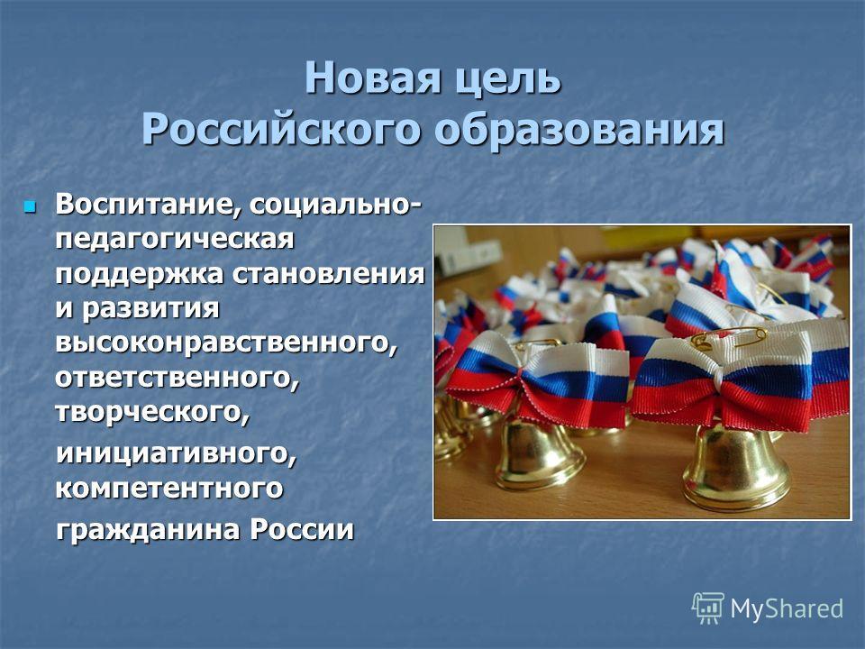 Новая цель Российского образования Воспитание, социально- педагогическая поддержка становления и развития высоконравственного, ответственного, творческого, Воспитание, социально- педагогическая поддержка становления и развития высоконравственного, от