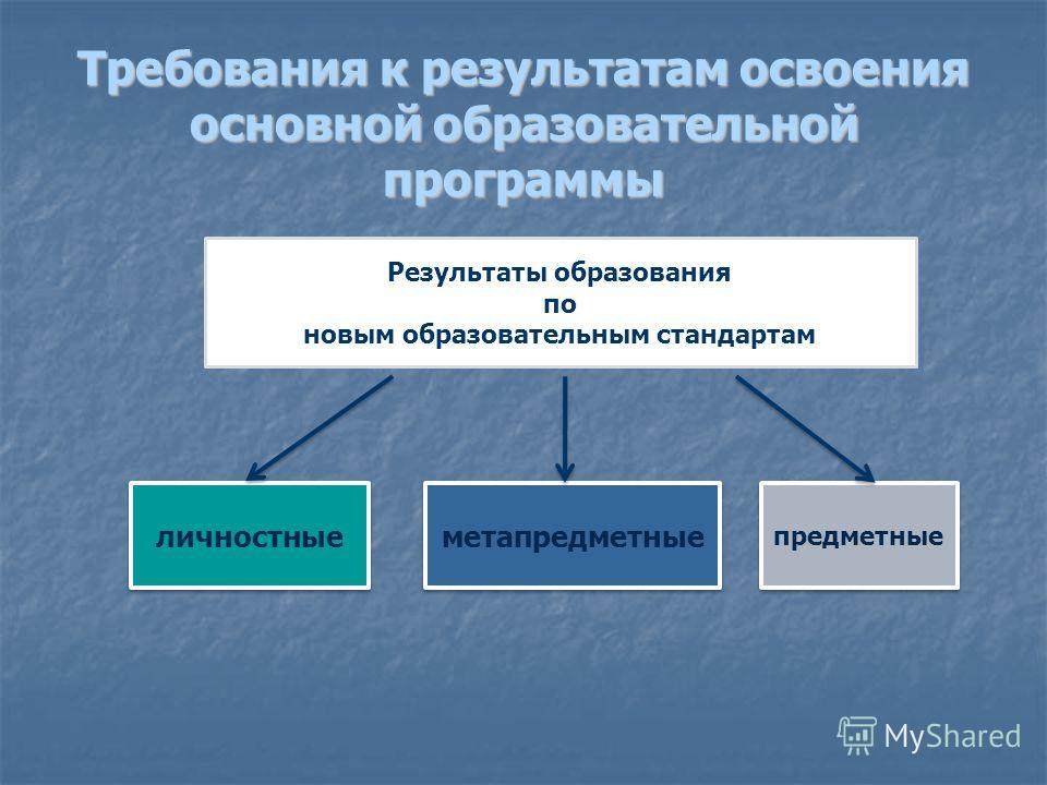 Требования к результатам освоения основной образовательной программы Результаты образования по новым образовательным стандартам личностные метапредметные предметные