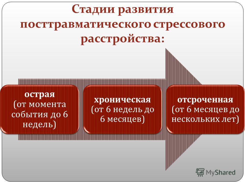 Стадии развития посттравматического стрессового расстройства: острая ( от момента события до 6 недель ) хроническая ( от 6 недель до 6 месяцев ) отсроченная ( от 6 месяцев до нескольких лет )