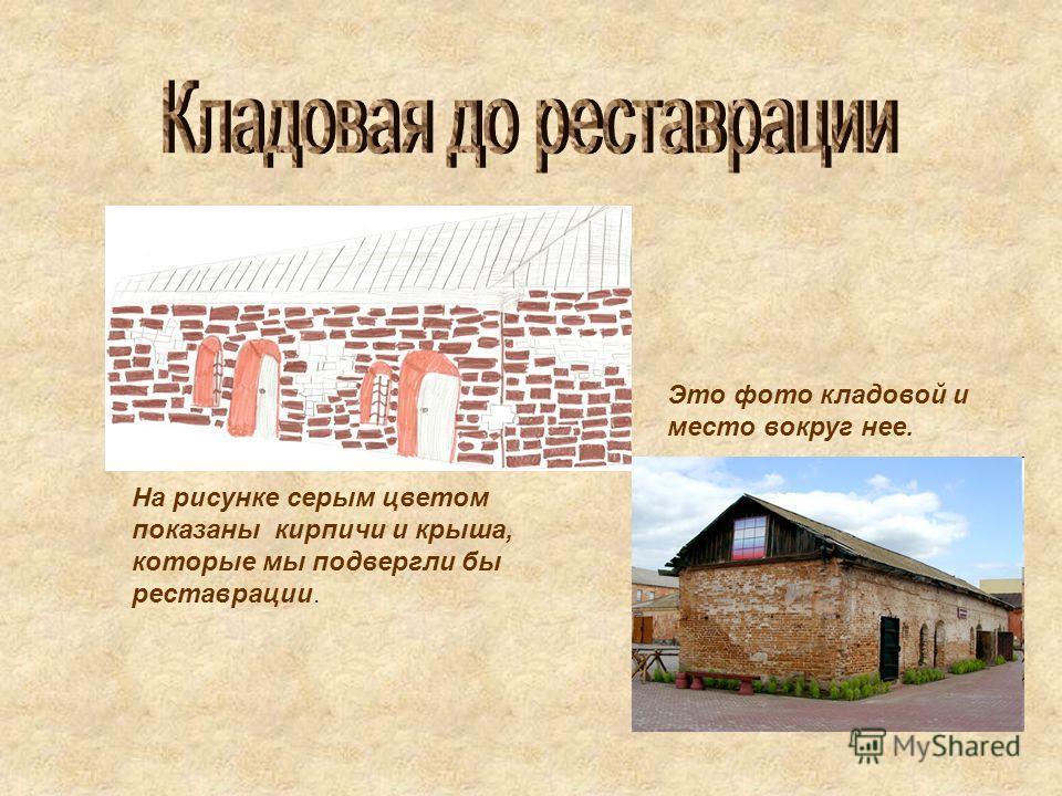 На рисунке серым цветом показаны кирпичи и крыша, которые мы подвергли бы реставрации. Это фото кладовой и место вокруг нее.
