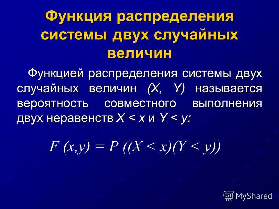 Функция распределения системы двух случайных величин Функцией распределения системы двух случайных величин (X, Y) называется вероятность совместного выполнения двух неравенств Х < х и Y < у: F (х,y) = Р ((Х < х)(Y < у))