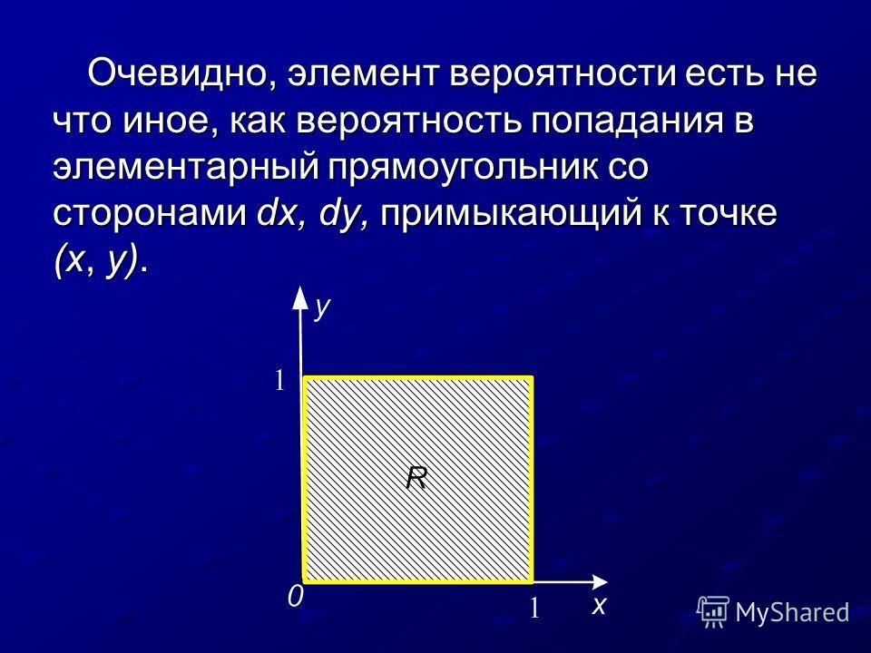 Очевидно, элемент вероятности есть не что иное, как вероятность попадания в элементарный прямоугольник со сторонами dх, dy, примыкающий к точке (x, у).
