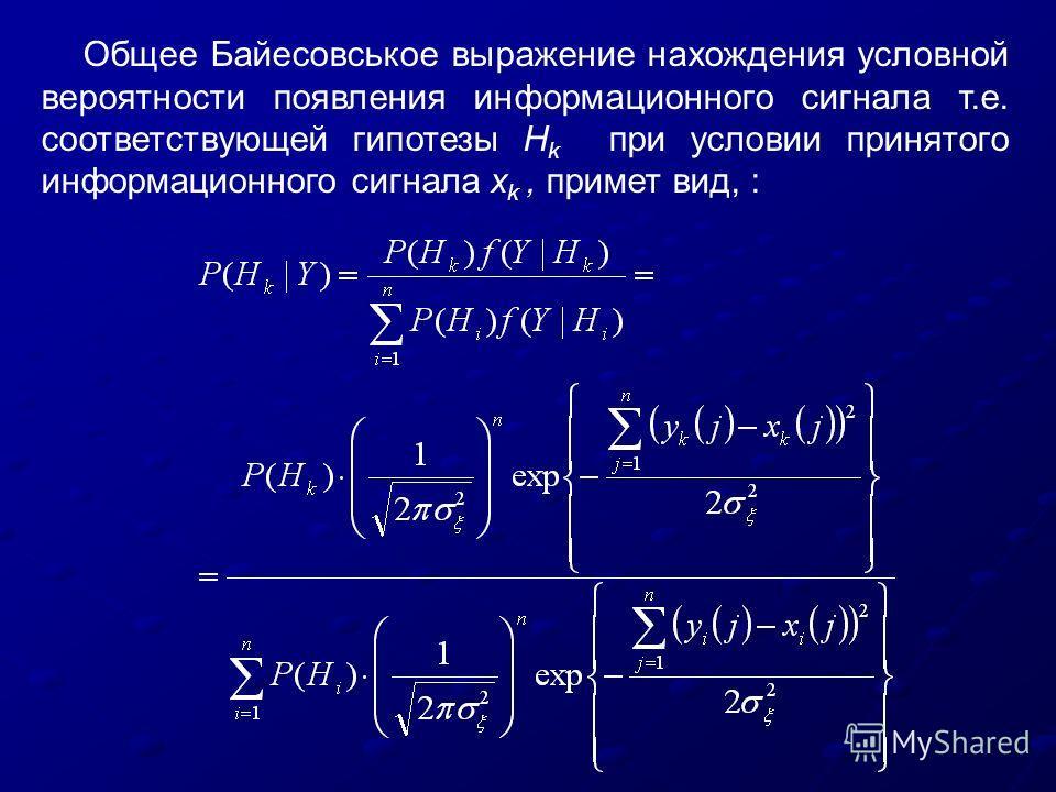 Общее Байесовськое выражение нахождения условной вероятности появления информационного сигнала т.е. соответствующей гипотезы H k при условии принятого информационного сигнала x k, примет вид, :