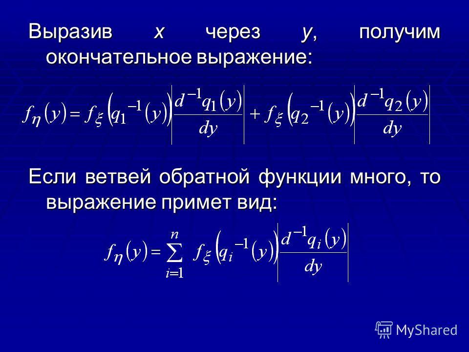 Выразив х через у, получим окончательное выражение: Если ветвей обратной функции много, то выражение примет вид: