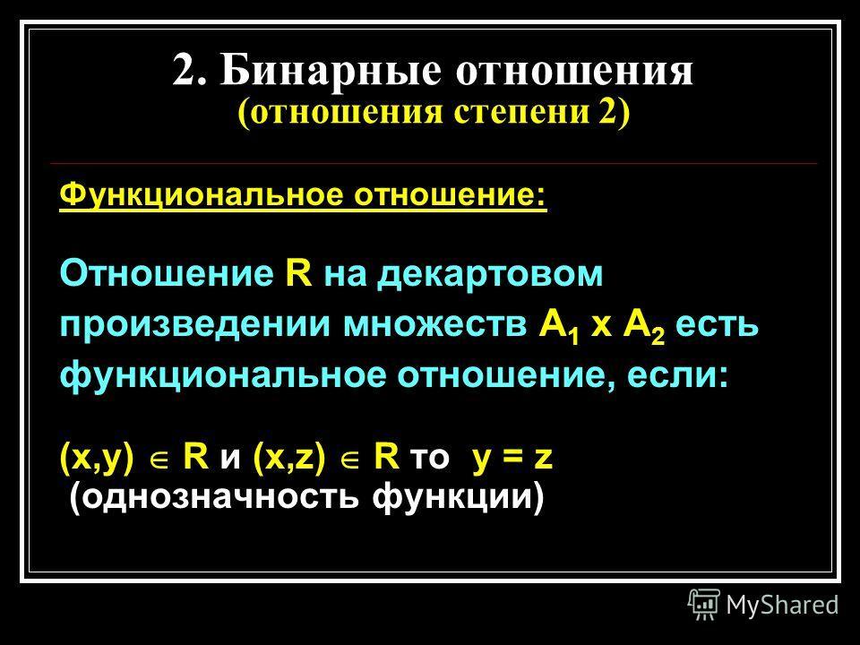 2. Бинарные отношения (отношения степени 2) Функциональное отношение: Отношение R на декартовом произведении множеств А 1 х А 2 есть функциональное отношение, если: (х,у) R и (х,z) R то у = z (однозначность функции)