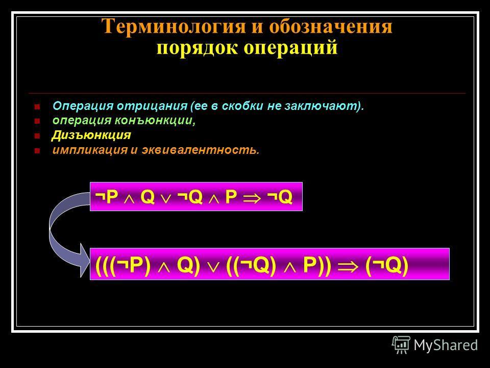 Терминология и обозначения порядок операций Операция отрицания (ее в скобки не заключают). операция конъюнкции, Дизъюнкция импликация и эквивалентность. ¬P Q ¬Q P ¬Q (((¬P) Q) ((¬Q) P)) (¬Q)