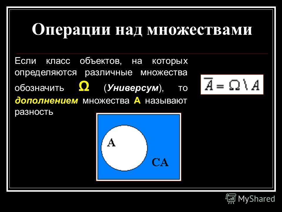 Операции над множествами Если класс объектов, на которых определяются различные множества обозначить Ω (Универсум), то дополнением множества А называют разность