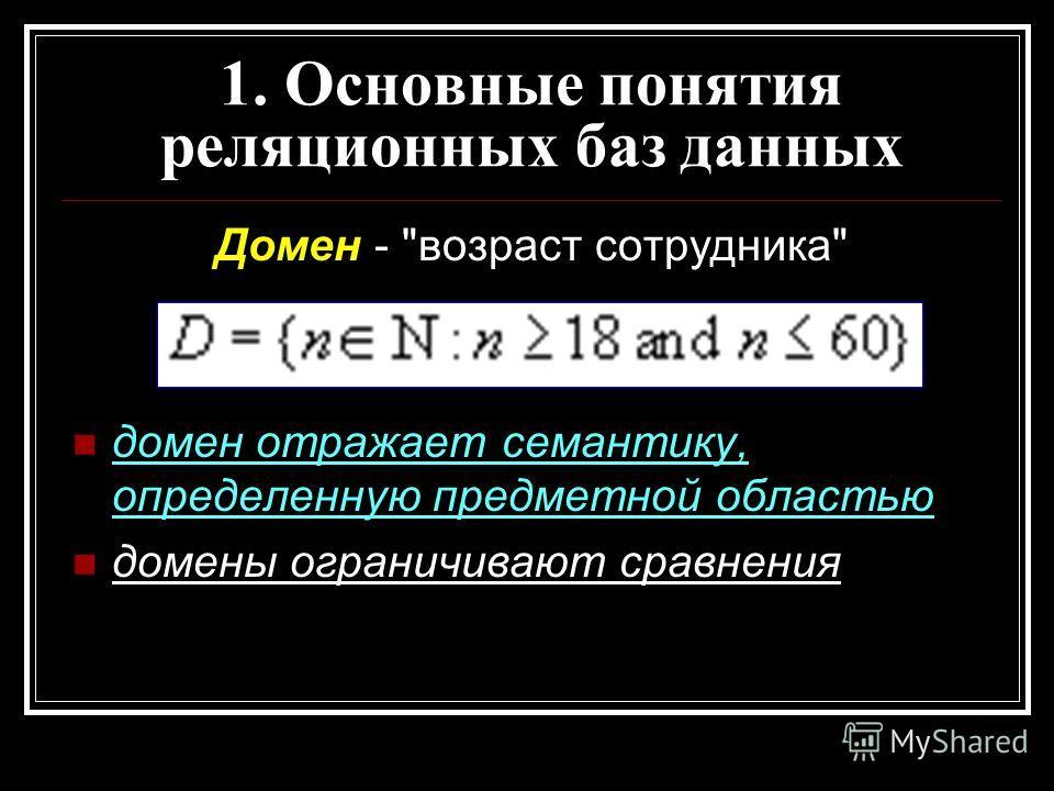 Домен - возраст сотрудника домен отражает семантику, определенную предметной областью домены ограничивают сравнения 1. Основные понятия реляционных баз данных