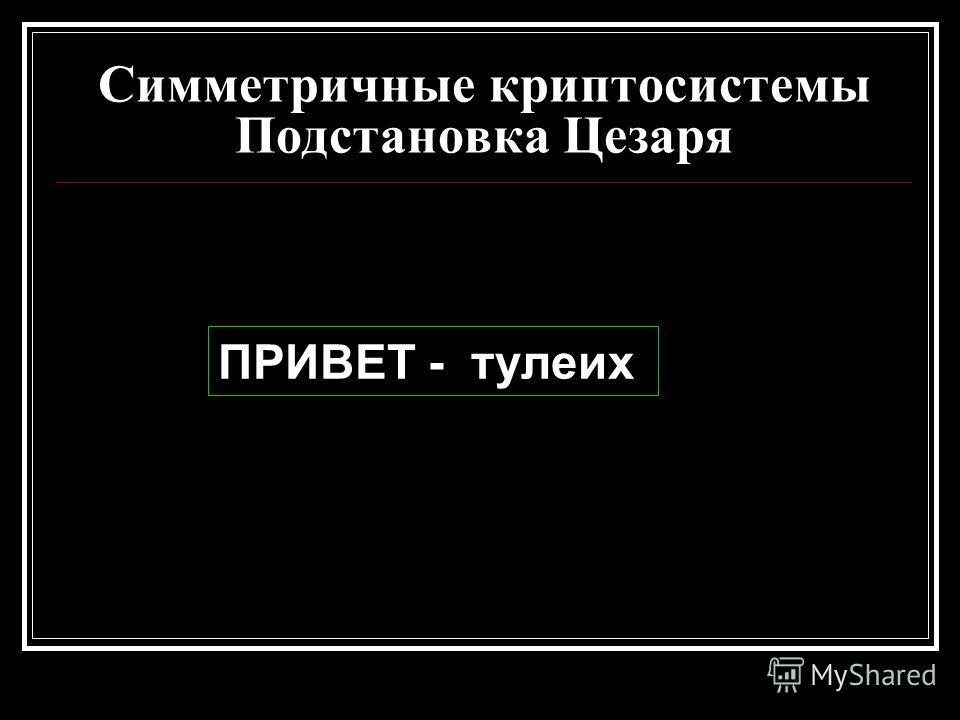 Симметричные криптосистемы Подстановка Цезаря ПРИВЕТ - тулеих