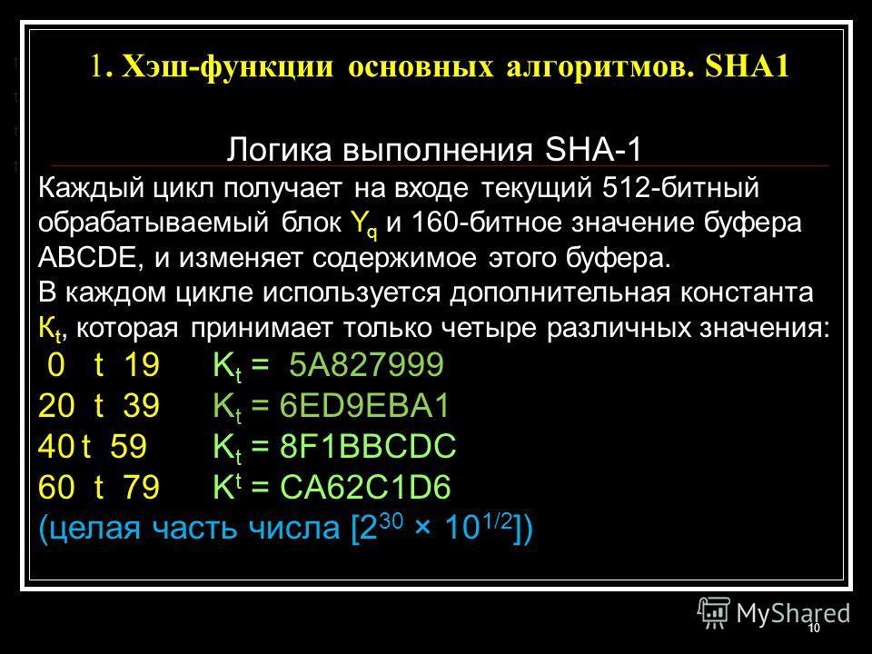 1. Хэш-функции основных алгоритмов. SHA1 10 t t t t Логика выполнения SHA-1 Каждый цикл получает на входе текущий 512-битный обрабатываемый блок Y q и 160-битное значение буфера ABCDE, и изменяет содержимое этого буфера. В каждом цикле используется д