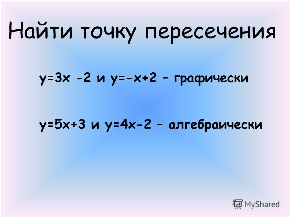 у=3х -2 и у=-х+2 – графически у=5х+3 и у=4х-2 – алгебраически Найти точку пересечения