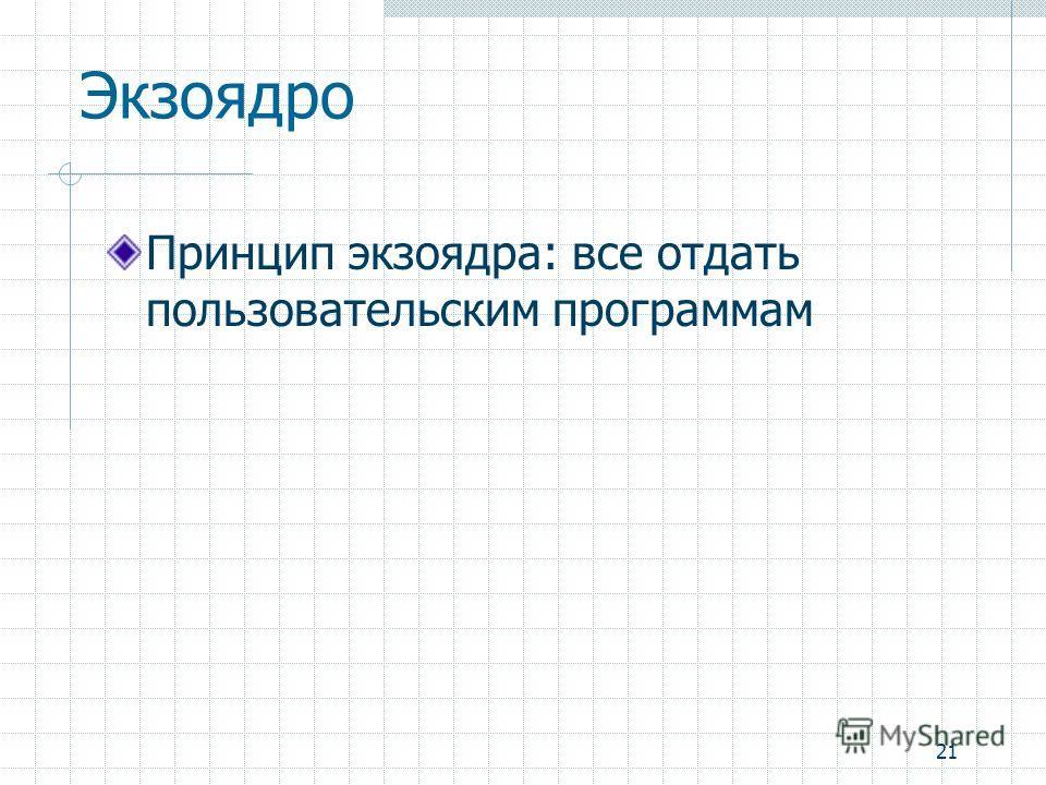 21 Экзоядро Принцип экзоядра: все отдать пользовательским программам