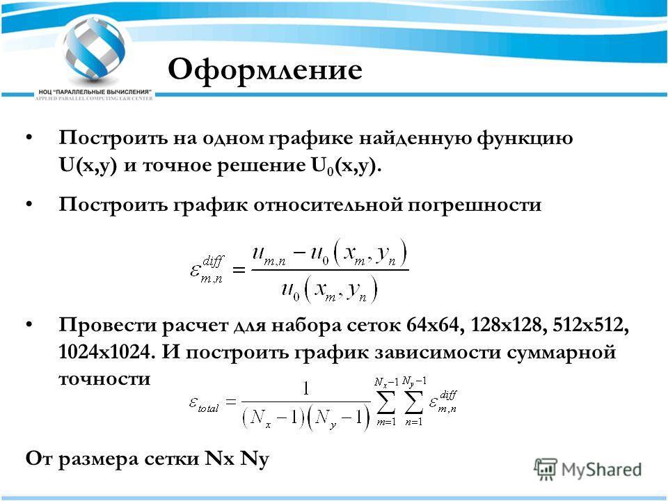 Оформление Построить на одном графике найденную функцию U(x,y) и точное решение U 0 (x,y). Построить график относительной погрешности Провести расчет для набора сеток 64x64, 128x128, 512x512, 1024x1024. И построить график зависимости суммарной точнос