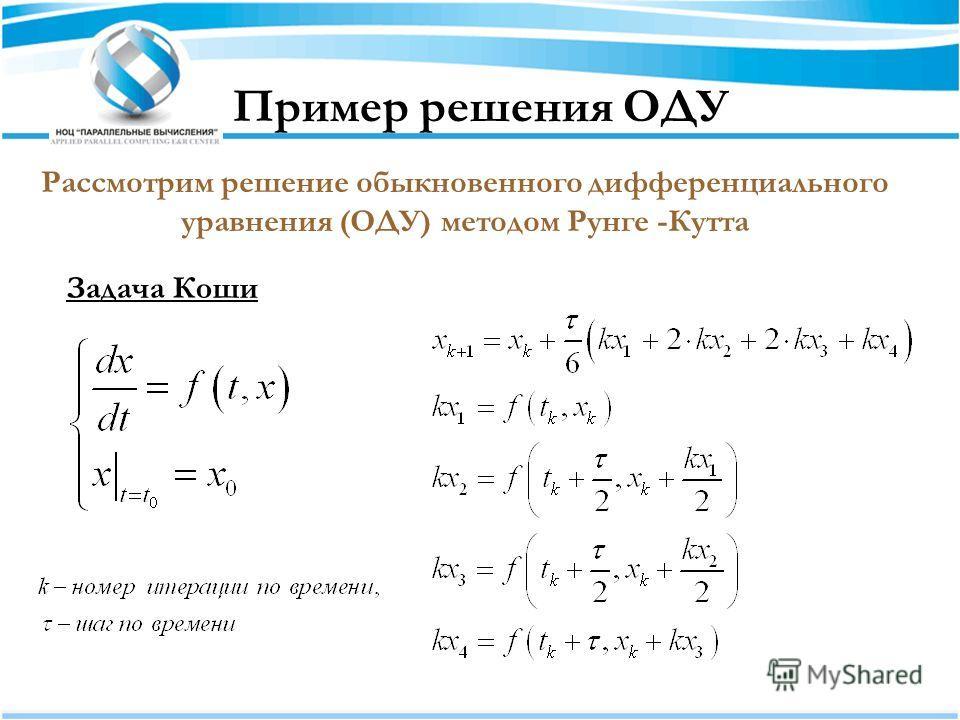 Пример решения ОДУ Рассмотрим решение обыкновенного дифференциального уравнения (ОДУ) методом Рунге -Кутта Задача Коши