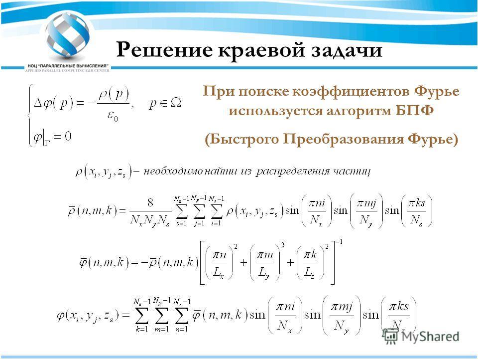 Решение краевой задачи При поиске коэффициентов Фурье используется алгоритм БПФ (Быстрого Преобразования Фурье)