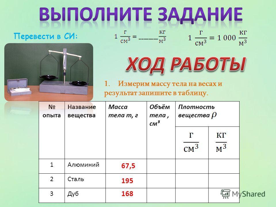 1.Измерим массу тела на весах и результат запишите в таблицу. опыта Название вещества Масса тела m, г Объём тела, см³ Плотность вещества 1Алюминий 2Сталь 3Дуб Перевести в СИ: 67,5 195 168