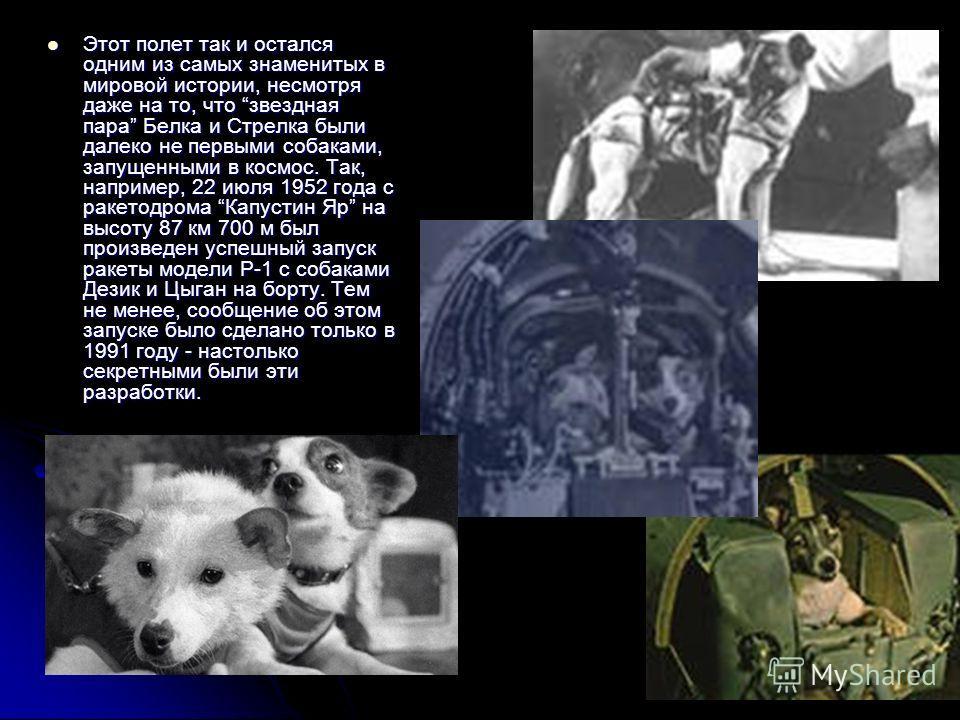 Этот полет так и остался одним из самых знаменитых в мировой истории, несмотря даже на то, что звездная пара Белка и Стрелка были далеко не первыми собаками, запущенными в космос. Так, например, 22 июля 1952 года с ракетодрома Капустин Яр на высоту 8