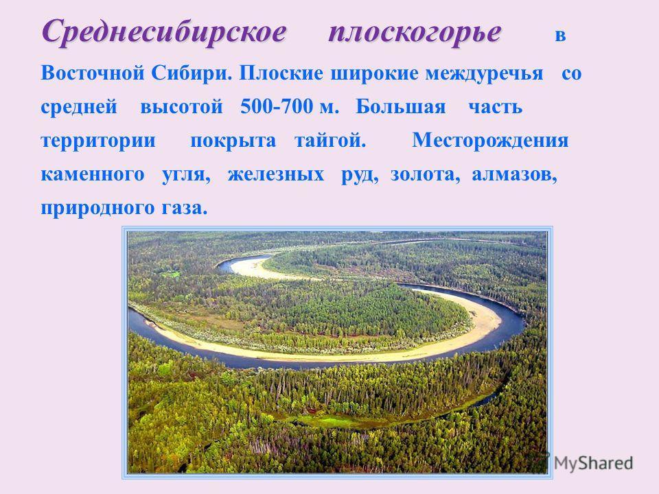 Среднесибирское плоскогорье Среднесибирское плоскогорье в Восточной Сибири. Плоские широкие междуречья со средней высотой 500-700 м. Большая часть территории покрыта тайгой. Месторождения каменного угля, железных руд, золота, алмазов, природного газа