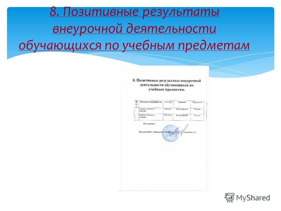 8. Позитивные результаты внеурочной деятельности обучающихся по учебным предметам