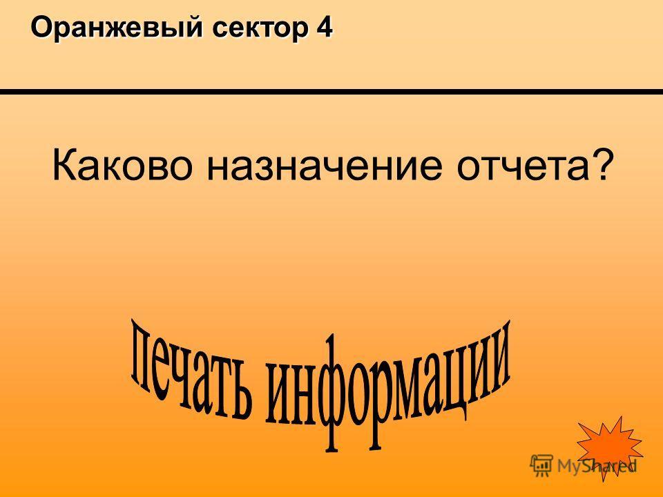 Оранжевый сектор 4 Оранжевый сектор 4 Каково назначение отчета?