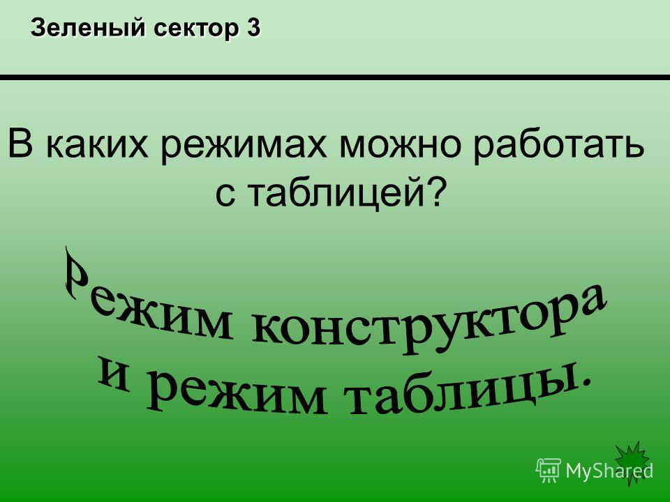 Зеленый сектор 3 Зеленый сектор 3 В каких режимах можно работать с таблицей?