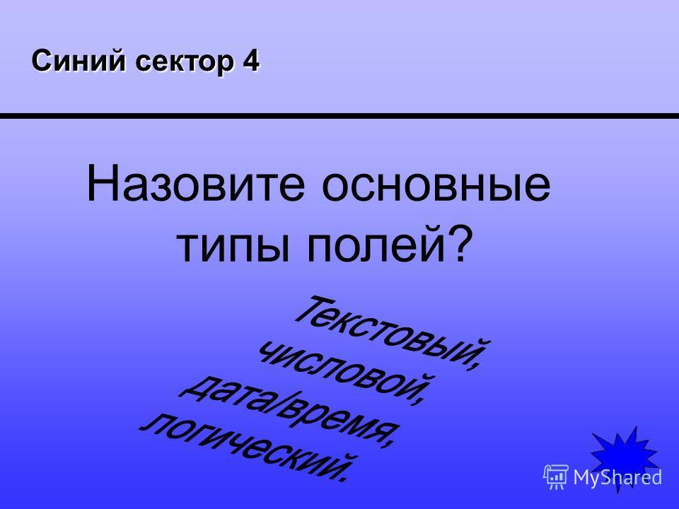 Синий сектор 4 Синий сектор 4 Назовите основные типы полей?