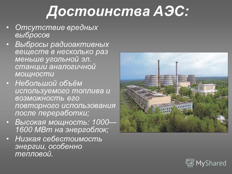 Достоинства АЭС: Отсутствие вредных выбросов Выбросы радиоактивных веществ в несколько раз меньше угольной эл. станции аналогичной мощности Небольшой объём используемого топлива и возможность его повторного использования после переработки; Высокая мо