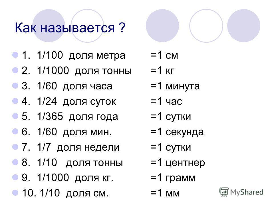 Как называется ? 1. 1/100 доля метра 2. 1/1000 доля тонны 3. 1/60 доля часа 4. 1/24 доля суток 5. 1/365 доля года 6. 1/60 доля мин. 7. 1/7 доля недели 8. 1/10 доля тонны 9. 1/1000 доля кг. 10. 1/10 доля см. =1 см =1 кг =1 минута =1 час =1 сутки =1 се