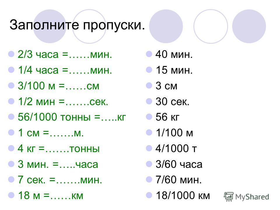 Заполните пропуски. 2/3 часа =……мин. 1/4 часа =……мин. 3/100 м =……см 1/2 мин =…….сек. 56/1000 тонны =…..кг 1 см =…….м. 4 кг =…….тонны 3 мин. =…..часа 7 сек. =…….мин. 18 м =……км 40 мин. 15 мин. 3 см 30 сек. 56 кг 1/100 м 4/1000 т 3/60 часа 7/60 мин. 18