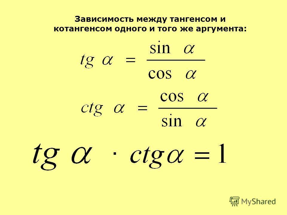 Зависимость между тангенсом и котангенсом одного и того же аргумента: