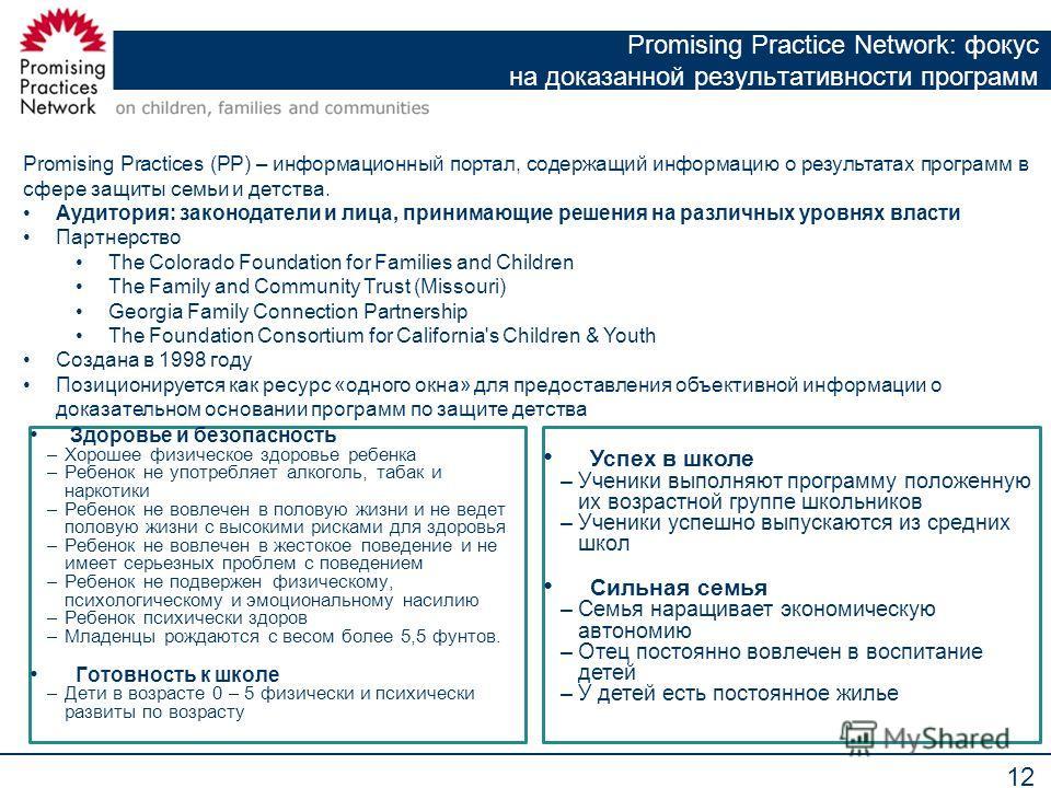 12 Promising Practice Network: фокус на доказанной результативности программ Promising Practices (PP) – информационный портал, содержащий информацию о результатах программ в сфере защиты семьи и детства. Аудитория: законодатели и лица, принимающие ре