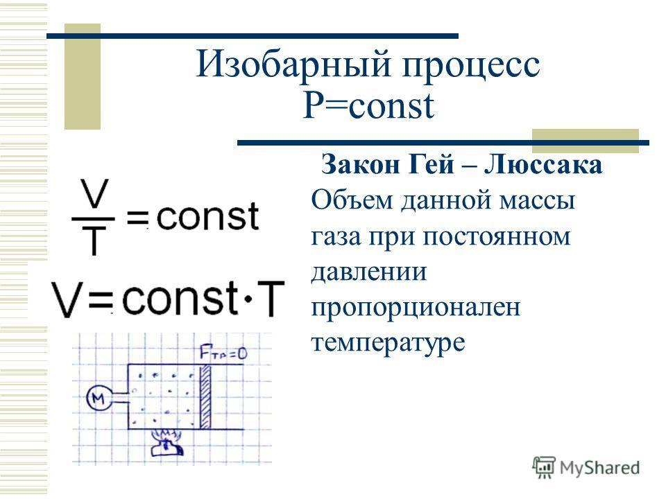 Изобарный процесс P=const Закон Гей – Люссака Объем данной массы газа при постоянном давлении пропорционален температуре