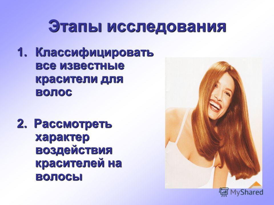 Этапы исследования 1.Классифицировать все известные красители для волос 2. Рассмотреть характер воздействия красителей на волосы