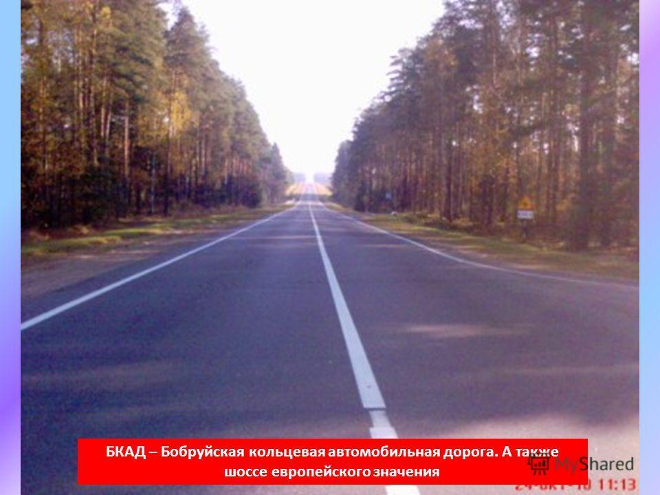 БКАД – Бобруйская кольцевая автомобильная дорога. А также шоссе европейского значения