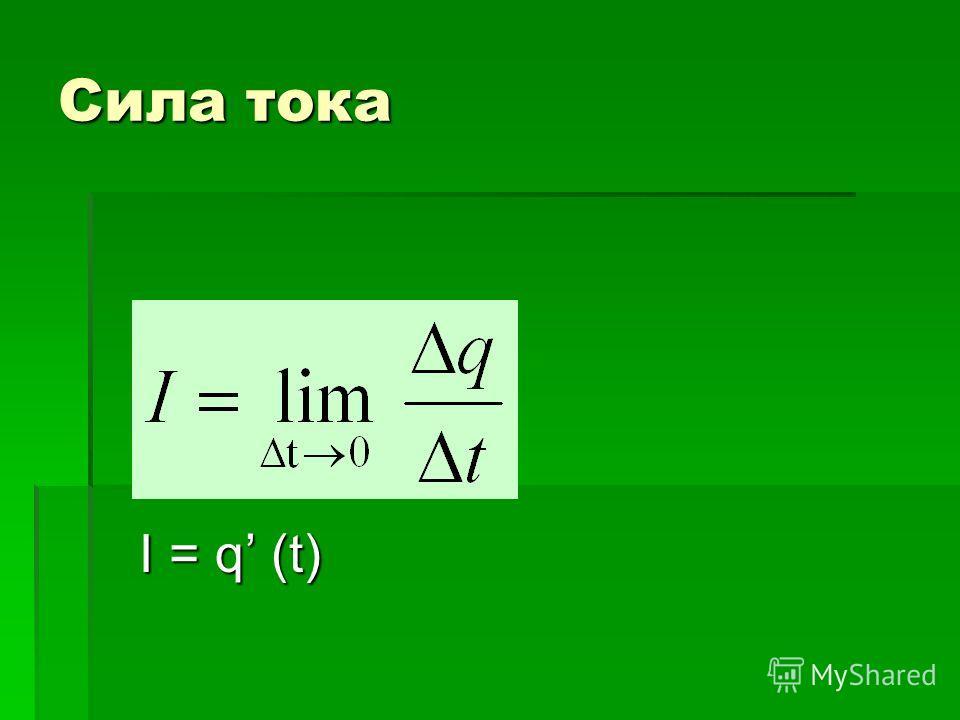 Сила тока I = q (t) I = q (t)