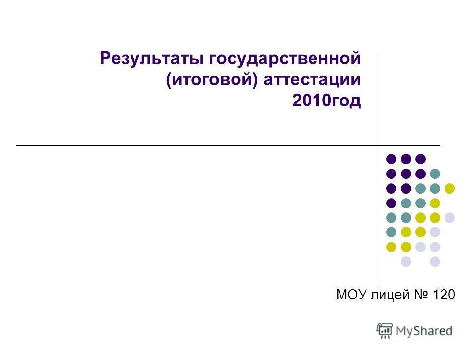 Результаты государственной (итоговой) аттестации 2010год МОУ лицей 120