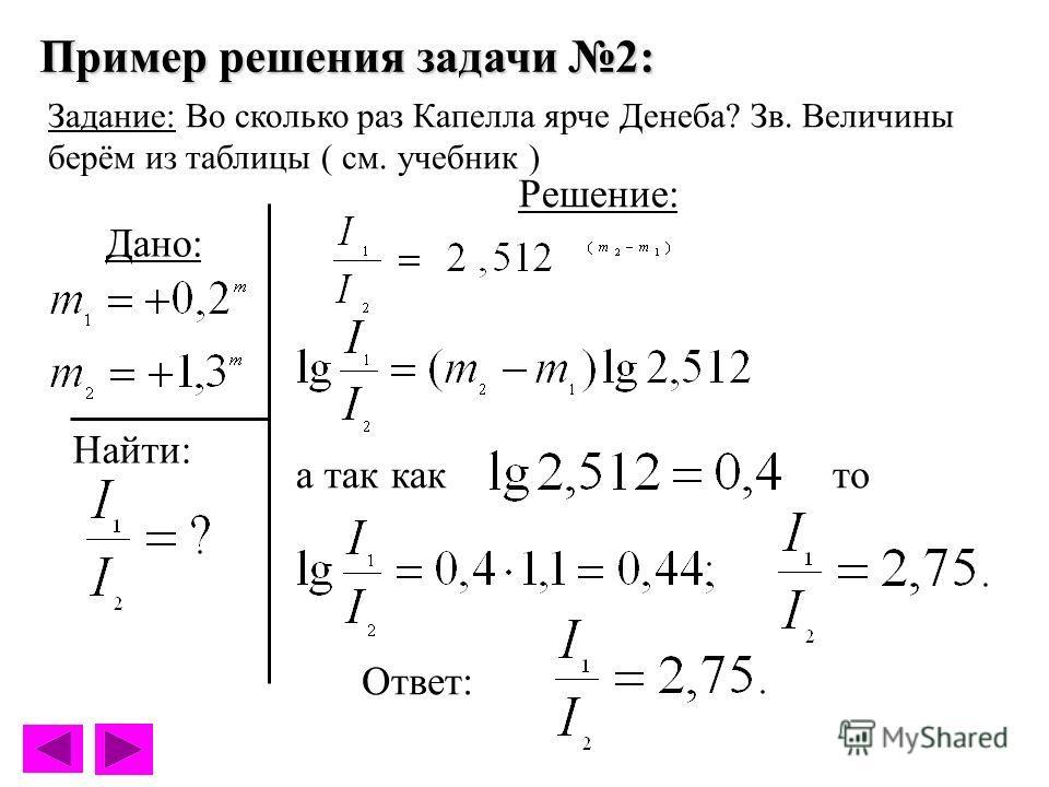 Пример решения задачи 2: Задание: Во сколько раз Капелла ярче Денеба? Зв. Величины берём из таблицы ( см. учебник ) Решение: Дано: а так както Ответ: Найти: