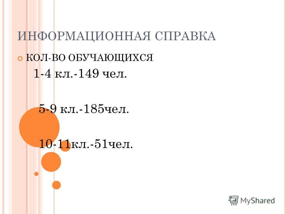 ИНФОРМАЦИОННАЯ СПРАВКА КОЛ-ВО ОБУЧАЮЩИХСЯ 1-4 кл.-149 чел. 5-9 кл.-185чел. 10-11кл.-51чел.
