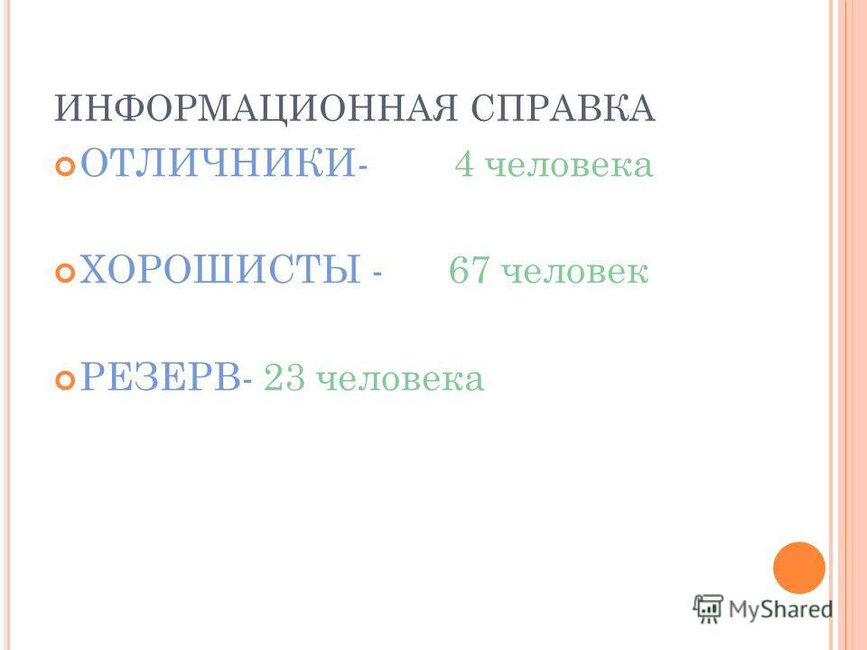 ИНФОРМАЦИОННАЯ СПРАВКА ОТЛИЧНИКИ- 4 человека ХОРОШИСТЫ - 67 человек РЕЗЕРВ- 23 человека