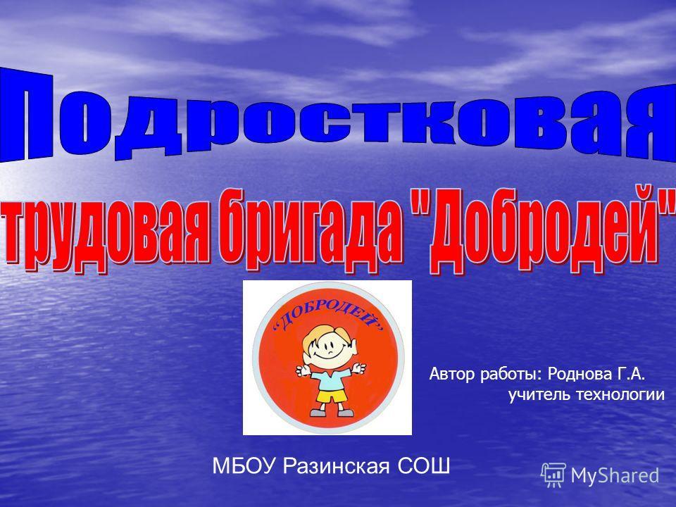 МБОУ Разинская СОШ Автор работы: Роднова Г.А. учитель технологии