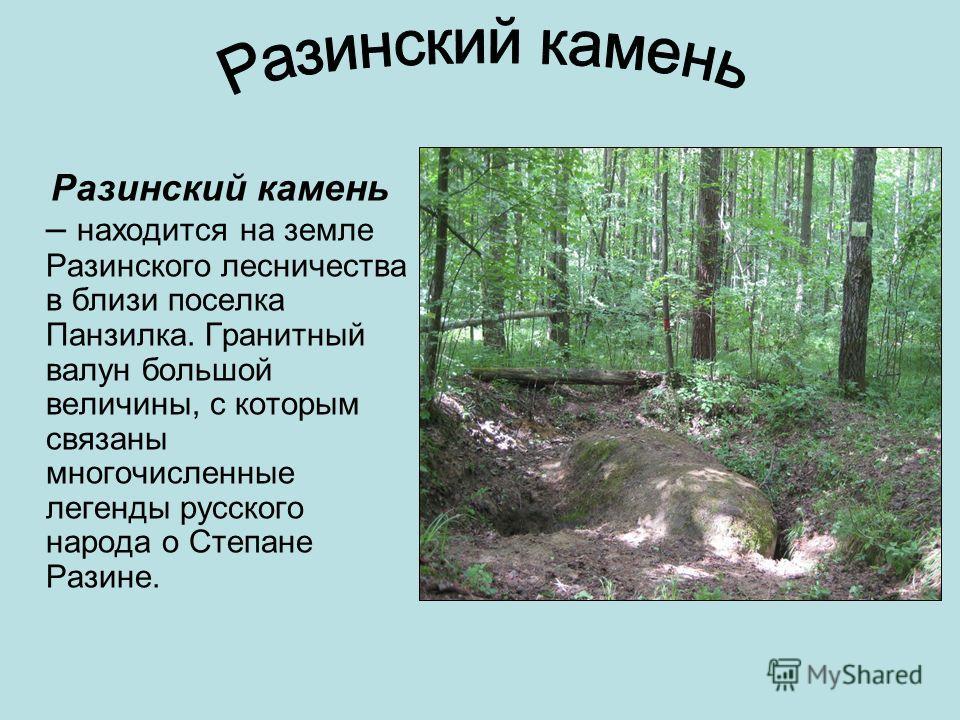 Разинский камень – находится на земле Разинского лесничества в близи поселка Панзилка. Гранитный валун большой величины, с которым связаны многочисленные легенды русского народа о Степане Разине.