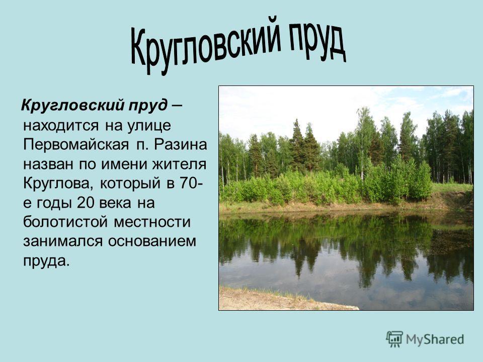 Кругловский пруд – находится на улице Первомайская п. Разина назван по имени жителя Круглова, который в 70- е годы 20 века на болотистой местности занимался основанием пруда.