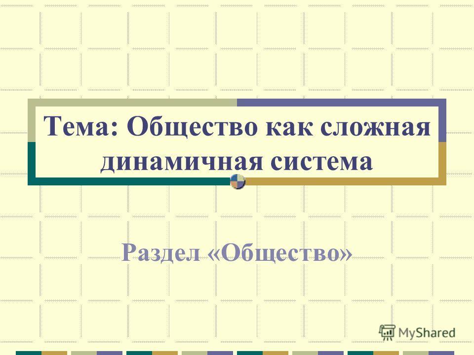 Тема: Общество как сложная динамичная система Раздел «Общество»