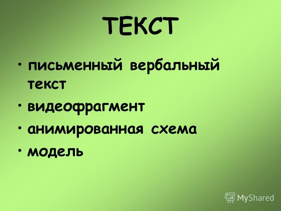 ТЕКСТ письменный вербальный текст видеофрагмент анимированная схема модель