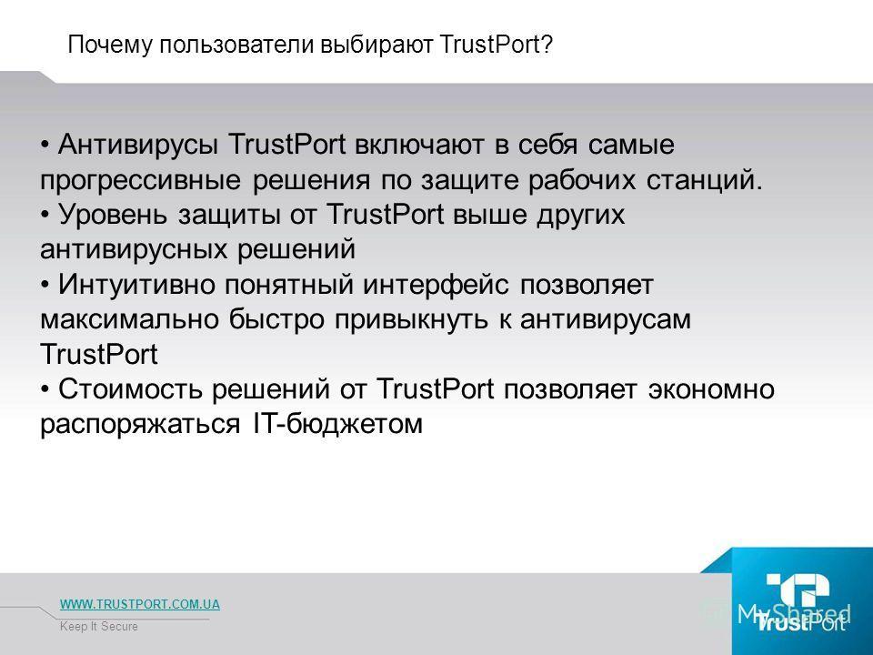 Почему пользователи выбирают TrustPort? WWW.TRUSTPORT.COM.UA Keep It Secure Антивирусы TrustPort включают в себя самые прогрессивные решения по защите рабочих станций. Уровень защиты от TrustPort выше других антивирусных решений Интуитивно понятный и