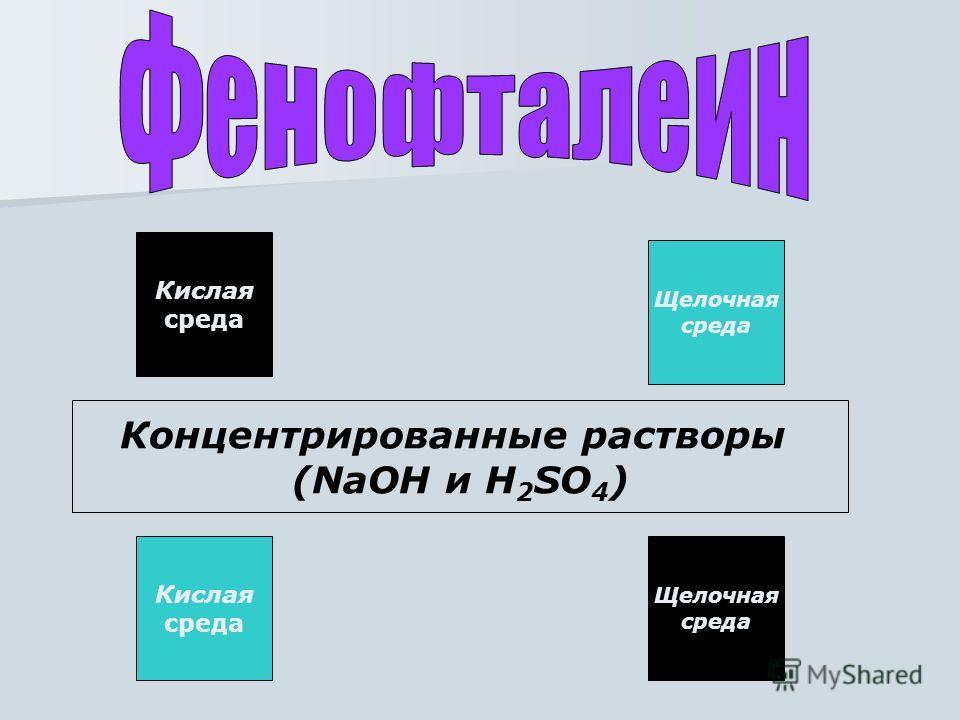 Кислая среда Щелочная среда Концентрированные растворы (NaOH и H 2 SO 4 ) Кислая среда Щелочная среда