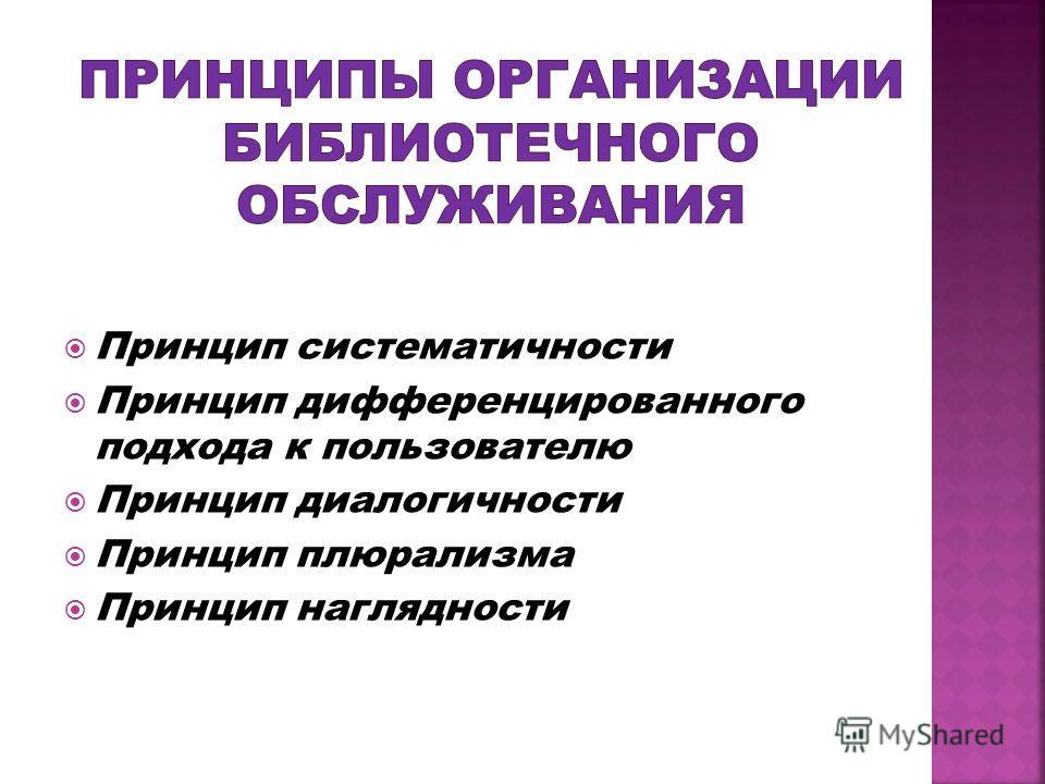 Принцип систематичности Принцип дифференцированного подхода к пользователю Принцип диалогичности Принцип плюрализма Принцип наглядности