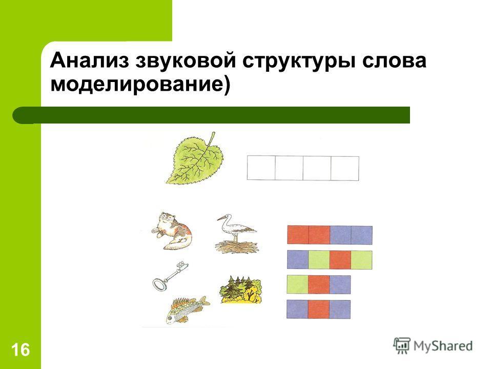 16 Анализ звуковой структуры слова моделирование)