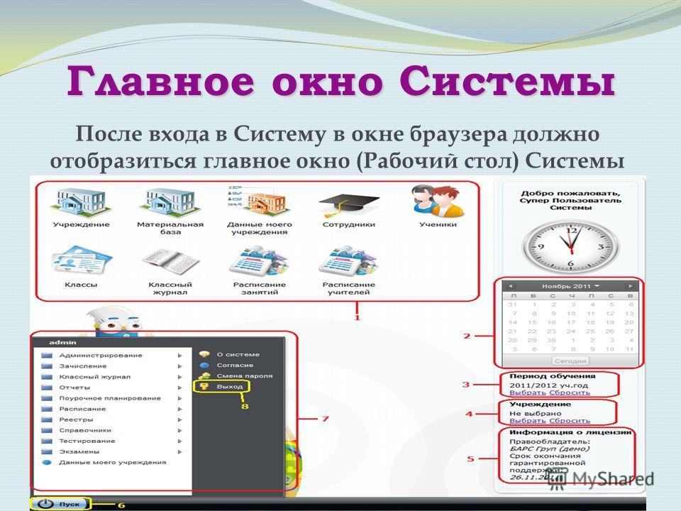 Главное окно Системы После входа в Систему в окне браузера должно отобразиться главное окно (Рабочий стол) Системы